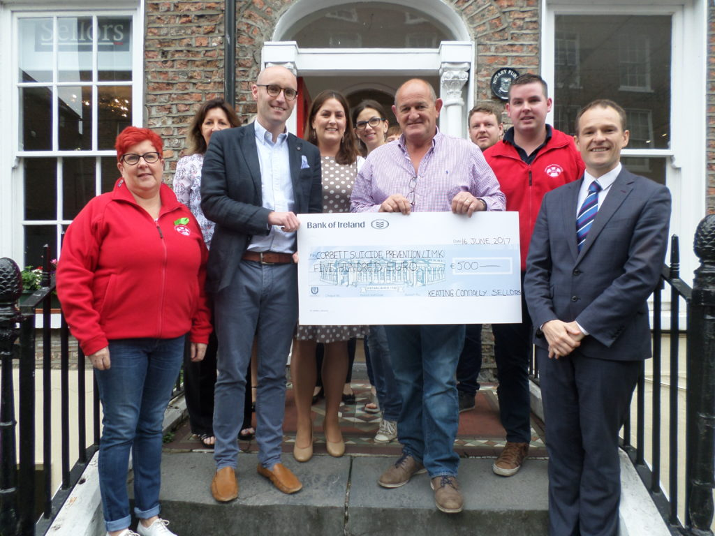 Keating Connolly Sellors Solicitors presented a cheque for €500 to Corbett Suicide Prevention Limerick. At the presentation were (Front Row: L-R): Louraine Corbett, Board Director at Corbett Suicide Prevention Limerick (CSPL), Stephen Keogh, Managing Partner at Keating Connolly Sellors, Peter Clohessy, CSPL Ambassador, Mike Hogan, CSPL, and Ronan Hynes, Partner at Keating Connolly Sellors as well as members of the Keating Connolly Sellors team.