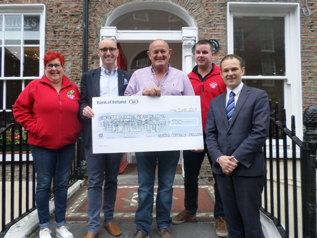 Keating Connolly Sellors Solicitors presented a cheque for €500 to Corbett Suicide Prevention Limerick. At the presentation were (L-R): Louraine Corbett, Board Director at Corbett Suicide Prevention Limerick (CSPL), Stephen Keogh, Managing Partner at Keating Connolly Sellors, Peter Clohessy, CSPL Ambassador, Mike Hogan, CSPL, and Ronan Hynes, Partner at Keating Connolly Sellors.